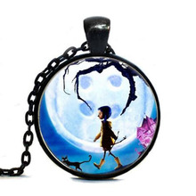 Anime Movie Coraline Necklace Coraline pendant Necklace chain Jewelry women men gift vintage antique charm steampunk new chains