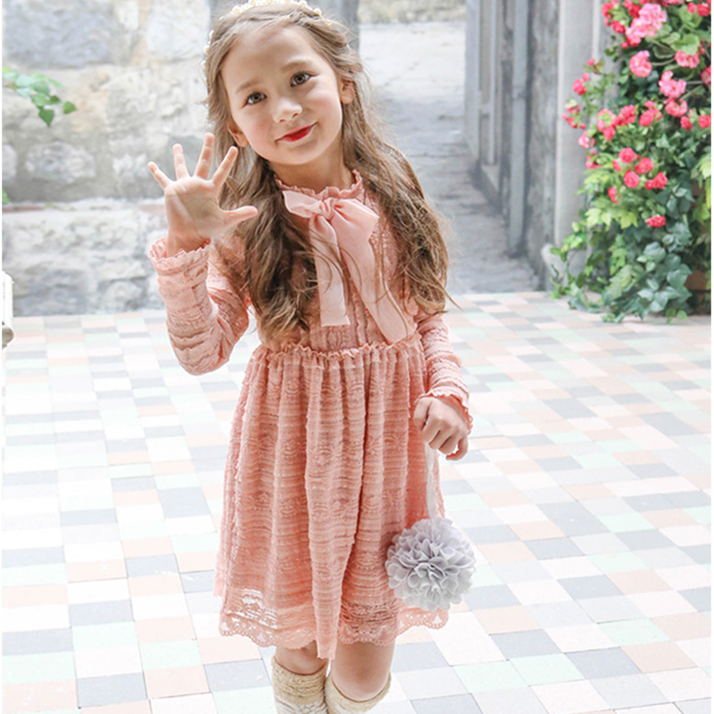 2017 spring autumn new children clothing bow girls lace dress for 2-7age girl dress for  flower girl dresses and christmas