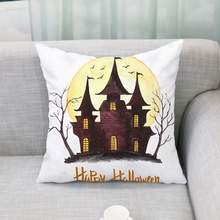 Creative Funny Household Halloween Theme Concise Cartoon Pattern Personality Flax Practical Pillow Case Party Decoration стоимость
