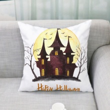 Creative Funny Household Halloween Theme Concise Cartoon Pattern Personality Flax Practical Pillow Case Party