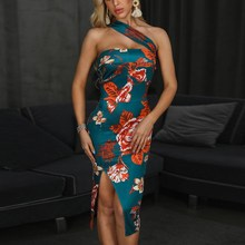 Women Backless Split Sexy Dress Elegant Print Floral Dress Summer Bodycon Sleeveless Dress недорого