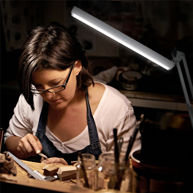 USB LED Long Swing Arm Desk Lamp W Clamp Metal Architect Adjustable light reading