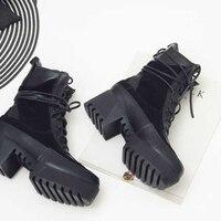 Eunice Choo/женские ботильоны из натуральной кожи на шнуровке, мотоциклетные ботинки с круглым носком на толстом каблуке, замшевые ботинки на пл