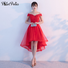 PotN'Patio Elegant Boat Neck Lace Tulle Red High Low Bridesmaid Dresses 2017 Wedding Party Dress