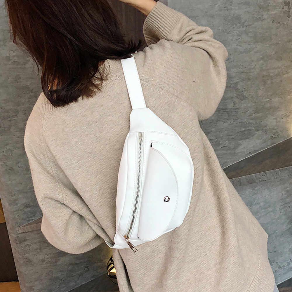 シンプルな純粋な色の女性のミニメッセンジャーバッグ Pu レザー女の子カジュアルショルダーバッグ女性の小さなウエストバッグ Bolso Cintura Mujer #061