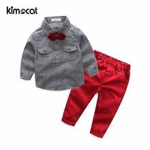 цена на Kimocat Baby Boy Clothes Boys Clothing Set 2pcs Shirt+Pants Long Sleeve Shirt Gentleman Two Suits Bow Tie Costume Kids Clothes