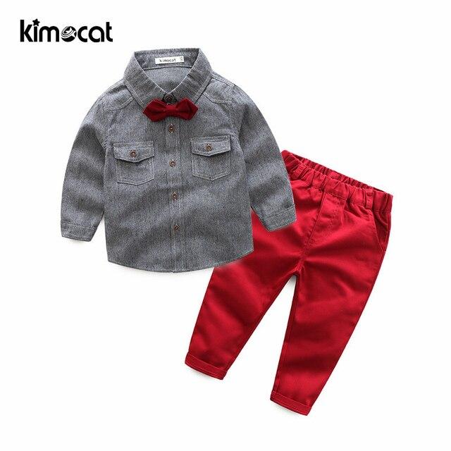 Kimocat Baby Boy Clothes Boys Clothing Set 2pcs Shirt+Pants Long Sleeve Shirt Gentleman Two Suits Bow Tie Costume Kids Clothes
