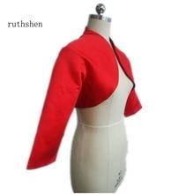Ruthshen 2018 Женская куртка с рукавом 3/4 красные атласные свадебные аксессуары изготовленные на заказ свадебные куртки/пальто/болеро