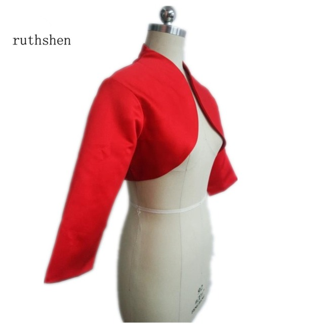 ruthshen 2018 Women Jacket 3/4 Sleeves Red Satin Bridal Accessories Custom Made Wedding Jackets / Coat / Bolero