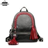 Китайский Стиль Вязание кос Кисточкой дизайнер из натуральной коровьей кожи для девочек женщина маленький черный рюкзак дамы Для женщин Кр