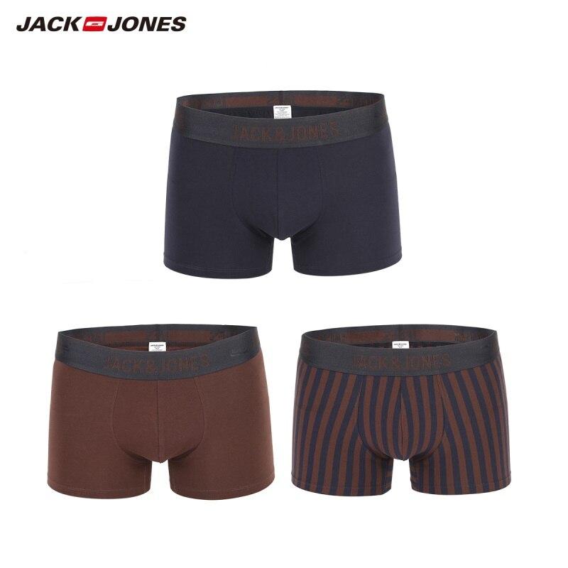JackJones Men's Stretch Cotton Multi-color Three-pack Boxer Shorts Men's Underwear Breathable Underpants Male |219192516(China)