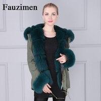 Натуральным лисьим мехом отделкой/манжеты/воротник парка со съемным капюшоном для Для женщин бренд зимняя куртка Oversize пальто