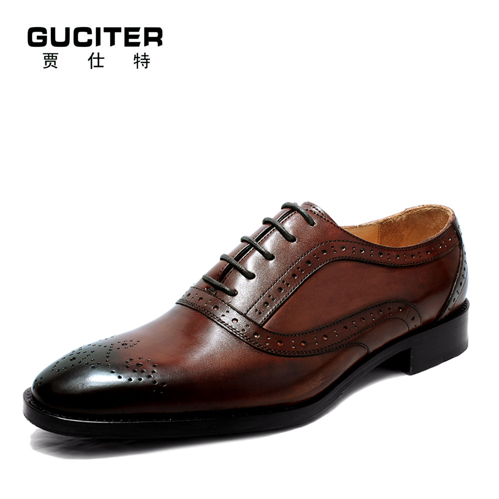 Mens Goodyear welted shoes handmade custom pointed brock gradient head layer cowhide bespoke free shipping red brown dress shoe free shipping high grade custom made lag element face goodyear manual custom mens leather shoes business private party shoe