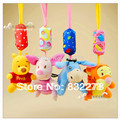 4 pçs/set animal Lindo carrinho de Bebê Pendurado brinquedos de Pelúcia Animais Campânula chocalhos do bebê musical móvel Bebê brinquedos clássicos presentes