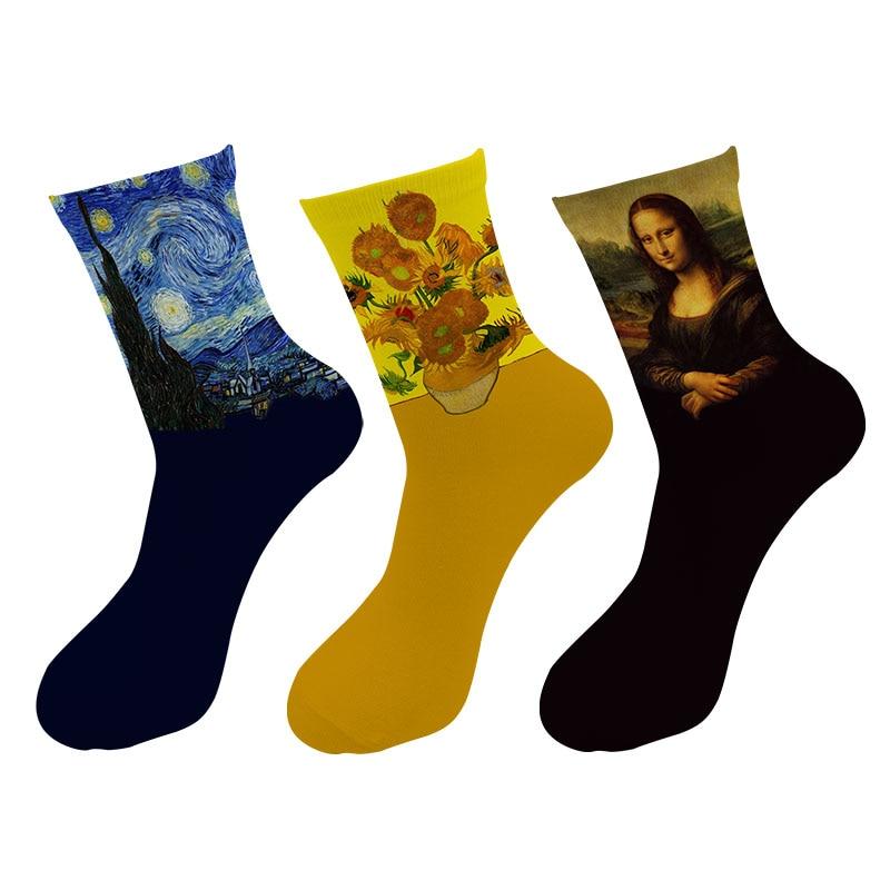 New 3d Printed Retro Painting Art Crew Socks Men Funny Starry Night Vintage Long Socks Van Gogh Oil Painting Tube Socks