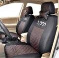 Frente 2 fundas de asiento para honda civic 2006-2011 accord crv algodón mezclado de seda gris negro beige bordado logo asiento de coche cubre