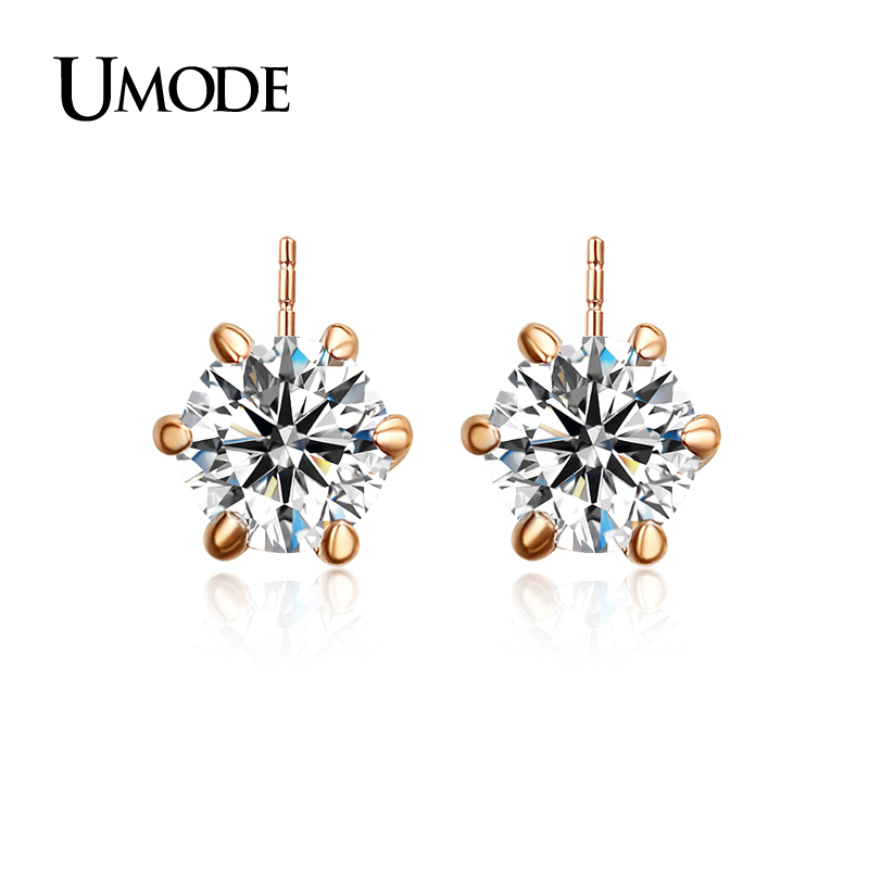 font b UMODE b font Classic Design Rose Gold Rhodium plated 0 5ct Cubic Zirconia