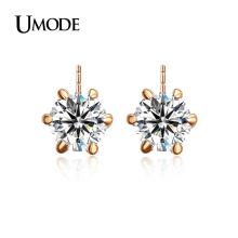 UMODE Brand Fashion Classic Design Rose Gold Rhodium color 0 5ct Cubic Zirconia Stud Earrings For
