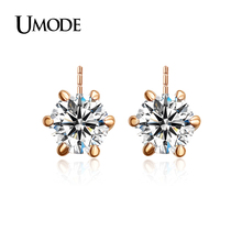 UMODE Classic Design Rose Gold Rhodium plated 0 5ct Cubic Zirconia Stud Earrings For Women Jewelry