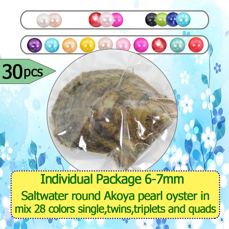 30pcs Mix 28 Colors Round Akoya Single Twins Triplets and Quads Pearls Oysters Individually Wrap Surprising