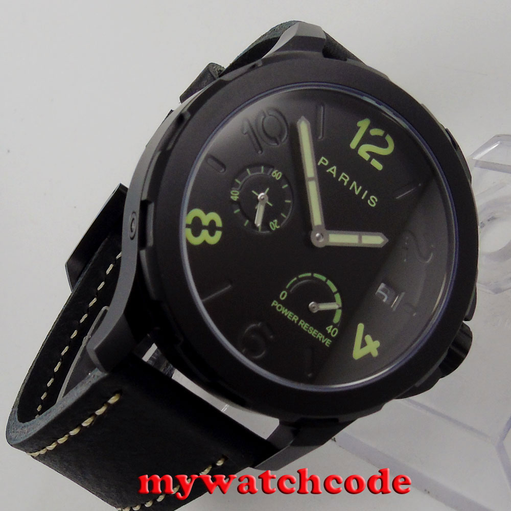 44mm Parnis black dial PVD Sapphire glass date ST Automatic Men's Watch 770 цена и фото