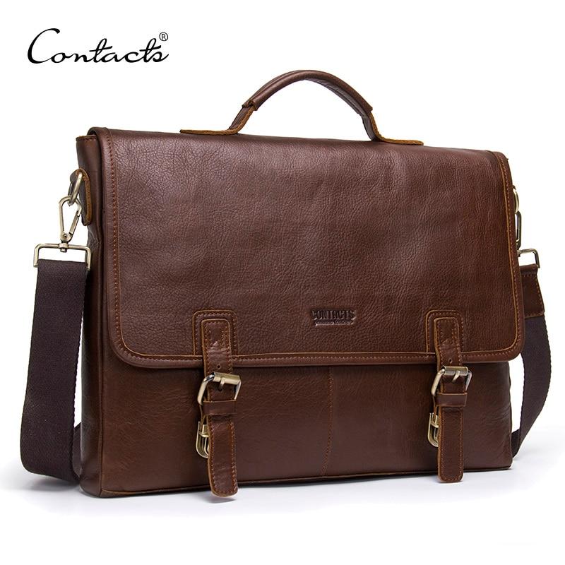 CONTACT'S véritable porte-documents en cuir hommes épaule sac pour 14 pouce ordinateur portable mâle messager sac vintage d'affaires de peau de vache hommes sacs
