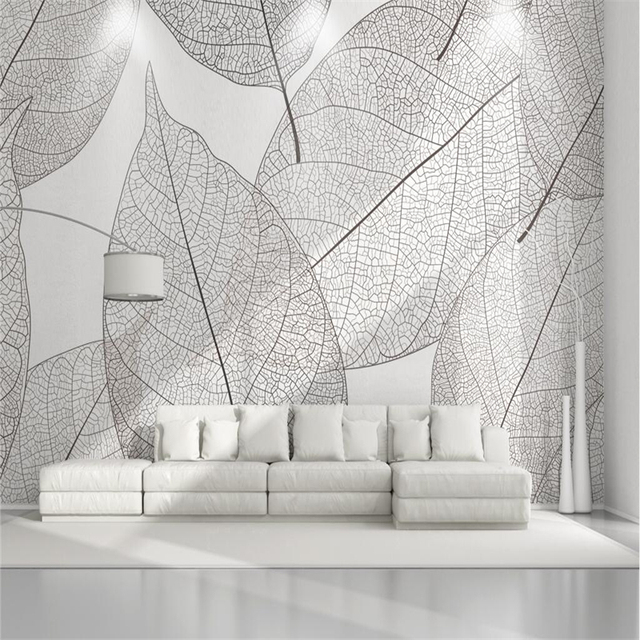 Vintage Photo Wallpapers 3D Geometric Leaf Wall Murals White Black Texture For Living Room Home