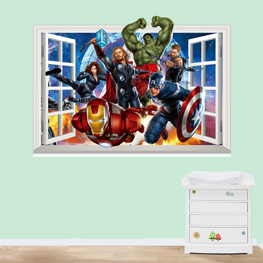 HTB1xYNVgsnI8KJjSspeq6AwIpXaT - 3D movie Marvel hero Hulk iron Man For Kids Room