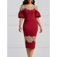 Kinikiss autumn women off shoulder pencil dress 2018 lantern sleeve bodycon burgundy sexy work vintage dress elegant boho dress