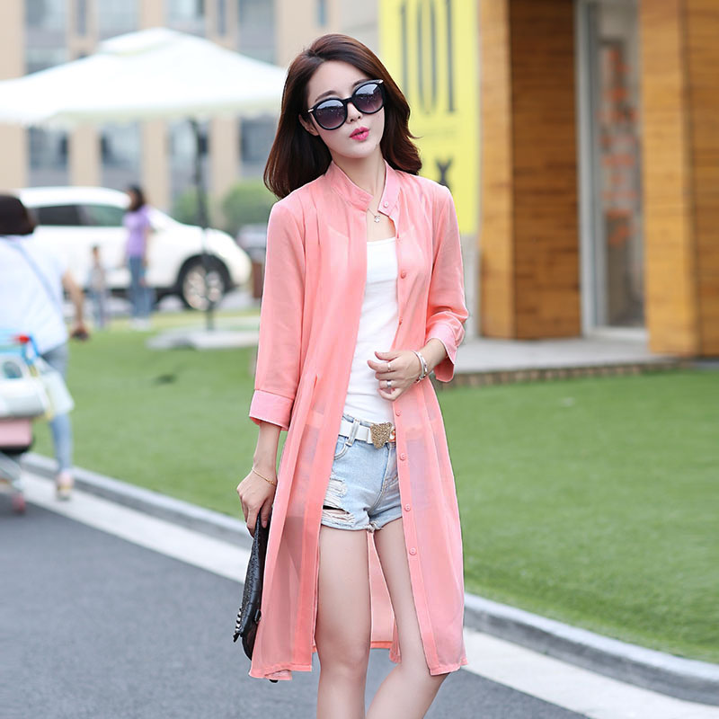New Fashion 2016 Summer Women Solid Color Sun Protect Transparent Thin Chiffon Long Blouse Shirt Clothing bathing suit cover ups