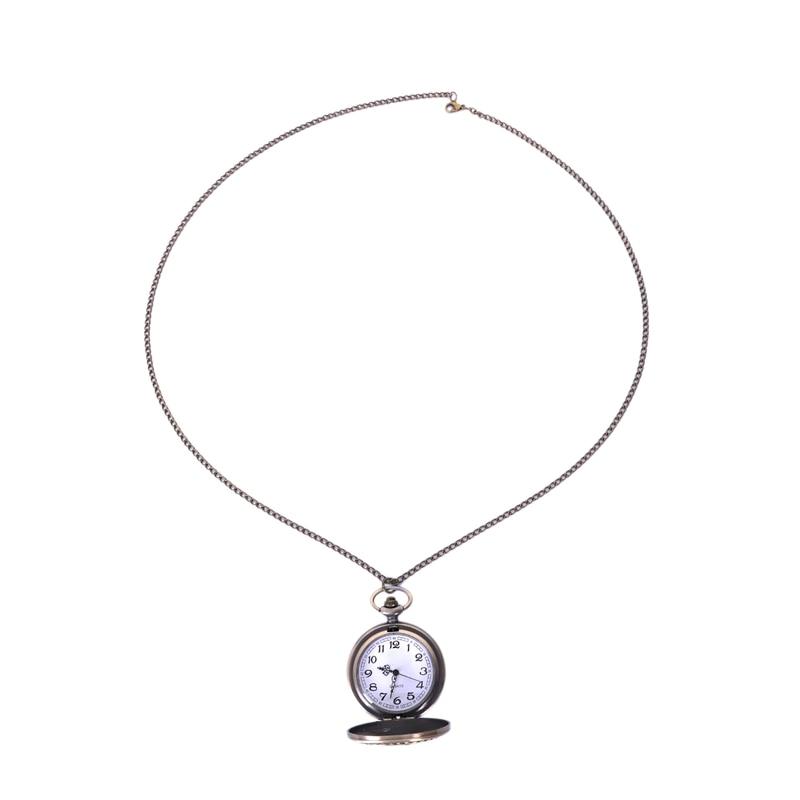 Vintage Charming Carved Train Watch Openable Hollow Quartz Watch Classic Men Women Necklace Pendant Chain Clock