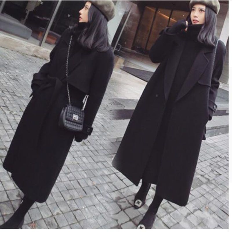 xxl Femelle Printemps l S D'hiver Manteau De Laine 2018 Long Pour Noir xl Nouveau Manteaux Survêtement m Femmes 40qUxT
