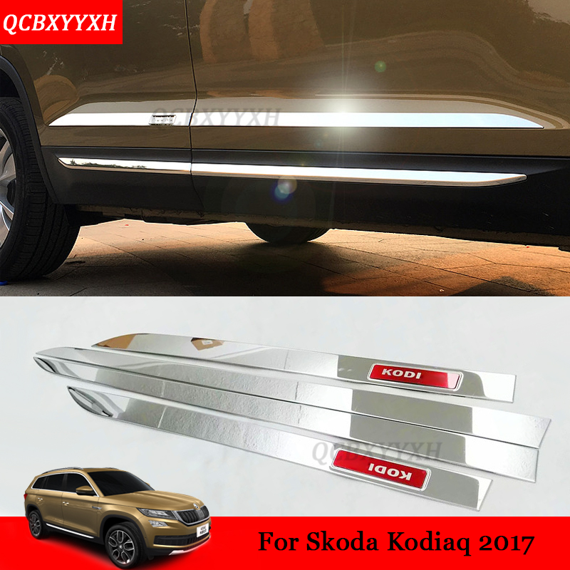 4pcs/set Car Styling Stainless Steel Molding Door Body Strips Accessories External Decoration Strips For Skoda Kodiaq 2017 stainless steel strips for toyota highlander 2011 2012 2013 car styling full window trim decoration oem 16 8
