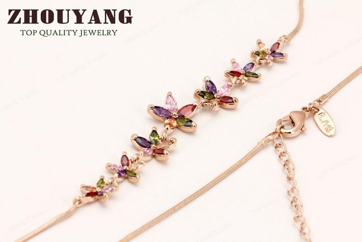 высокое качество 7 плам блоссом розовое золото цвет ожерелье ювелирные изделия австрийский хрусталь zyn024 zyn025 zyn026