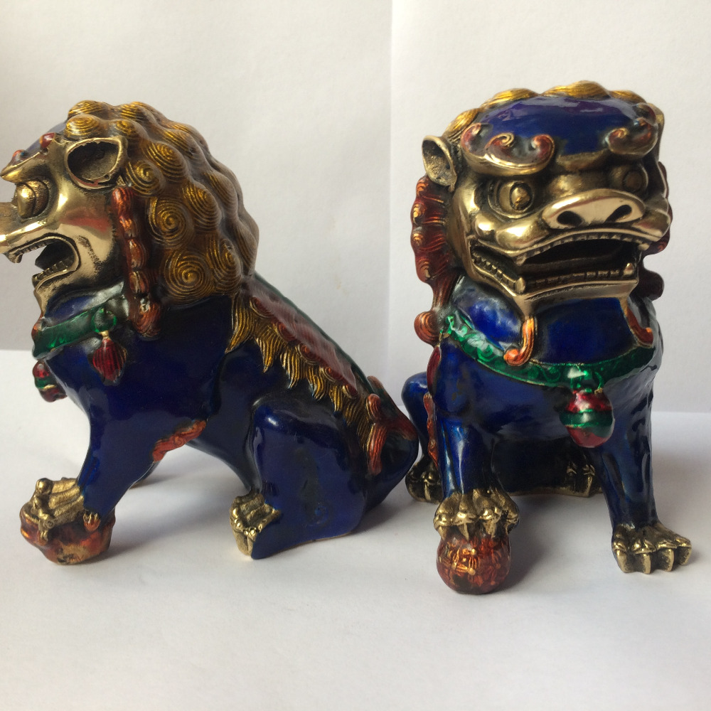 Lion Foo Dog A Pair Chinese Cloisonne Copper Statue