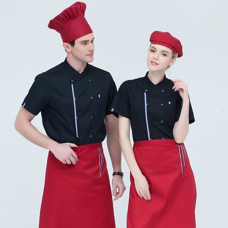 Short Sleeve Chef Service Jacket Summer Hotel Kitchen Chef Uniform Restaurant Men And Women Cook Tops Breathable Overalls