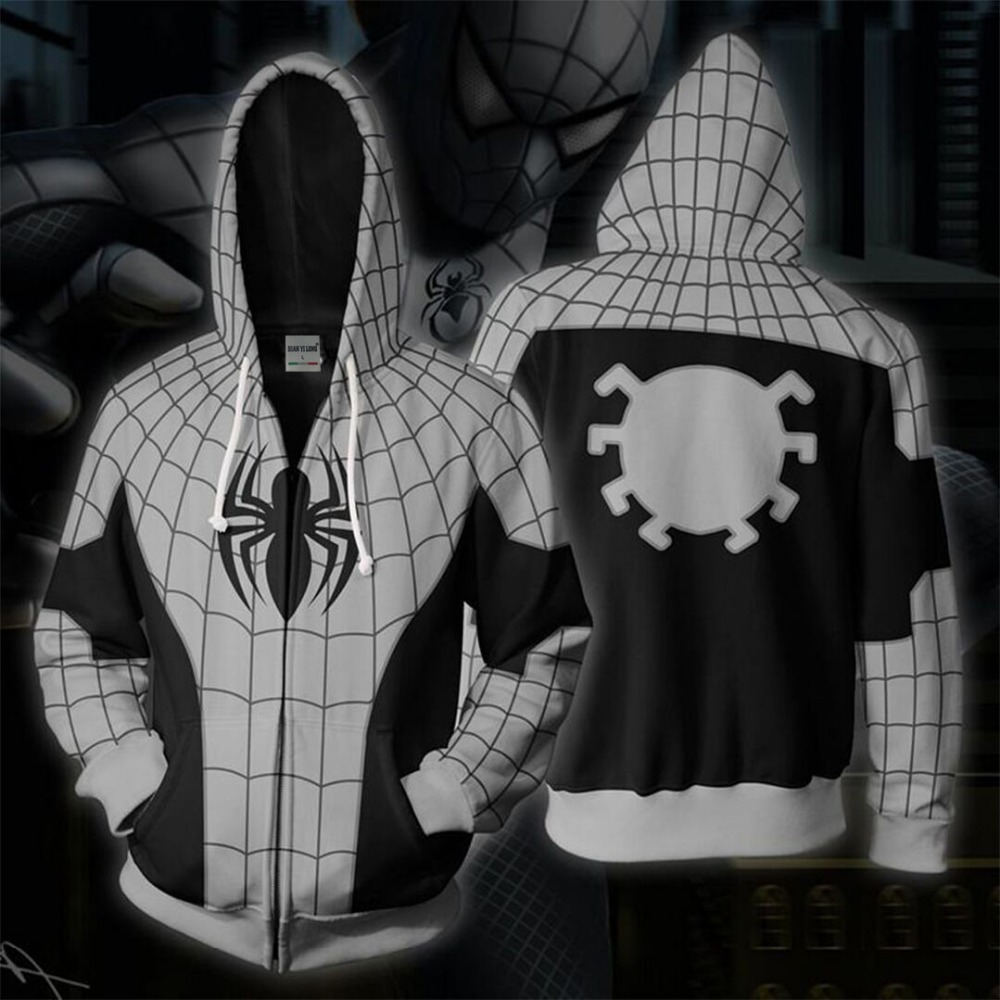 BIANYILONG 2019 new men's hooded armored Spide-man 3D printed hoodies tracksuit zipper hoody hip hop tops free