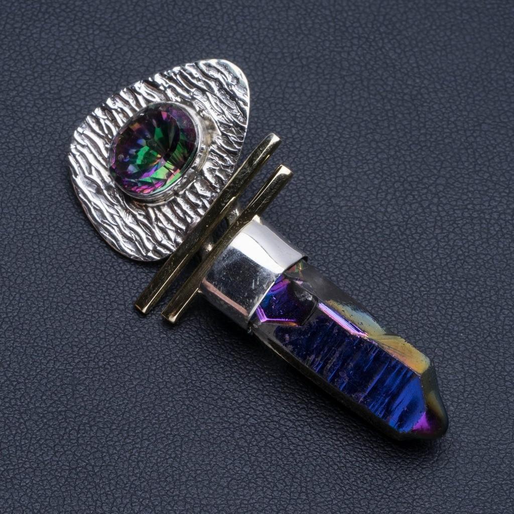 """Collier pendentif arc-en-ciel naturel en argent Sterling 925 Style Boho 2 """"R1046"""
