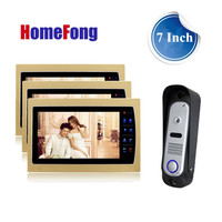 Homefong Color Video Door Phone Intercom System 3 Monitor And 1 Doorbell SD Card Support Record