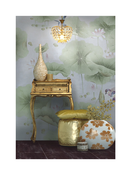Hot sales Classic elegant Hand-painted silk wallpaper painting lotus with birds wallcovering many arts and background optional