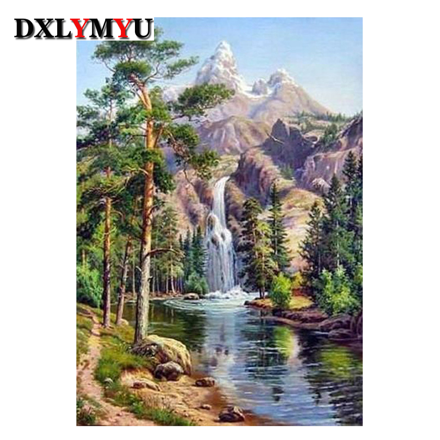 3D Diy Diamond malování kříž steh nastavit krystal náměstí diamant mozaika vodopád scenérie rhinestones výšivka