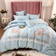 New Luxury Blue Pink Purple Green Royal Embroidery Palace Bedding Set Egyptian Cotton Duvet Cover Bed sheet/Linen Pillowcases