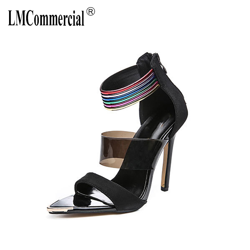 high heel collage female shoes splice sexy sandals luxury shoes women designers gladiator sandals womens Sexy Peep Toes in High Heels from Shoes