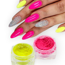 1pc Fluorescent Effect Nail Glitter Neon Pigment Nail Polish Powder Dust UV Gel Nail Tips Decoration Accessories Nail Tools LAYE