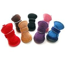 Hiver Doux coton Chiens bottes Non-slip chien chaussures En Peluche animal épais fond mou bottes de neige Petit Chien chaussures