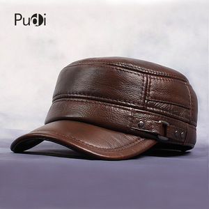 Image 2 - Pudi Cow Leather Flat Peak Baseball Cap&Hats for men winter warm army hat adjustable ear flat  black brown cap HL064