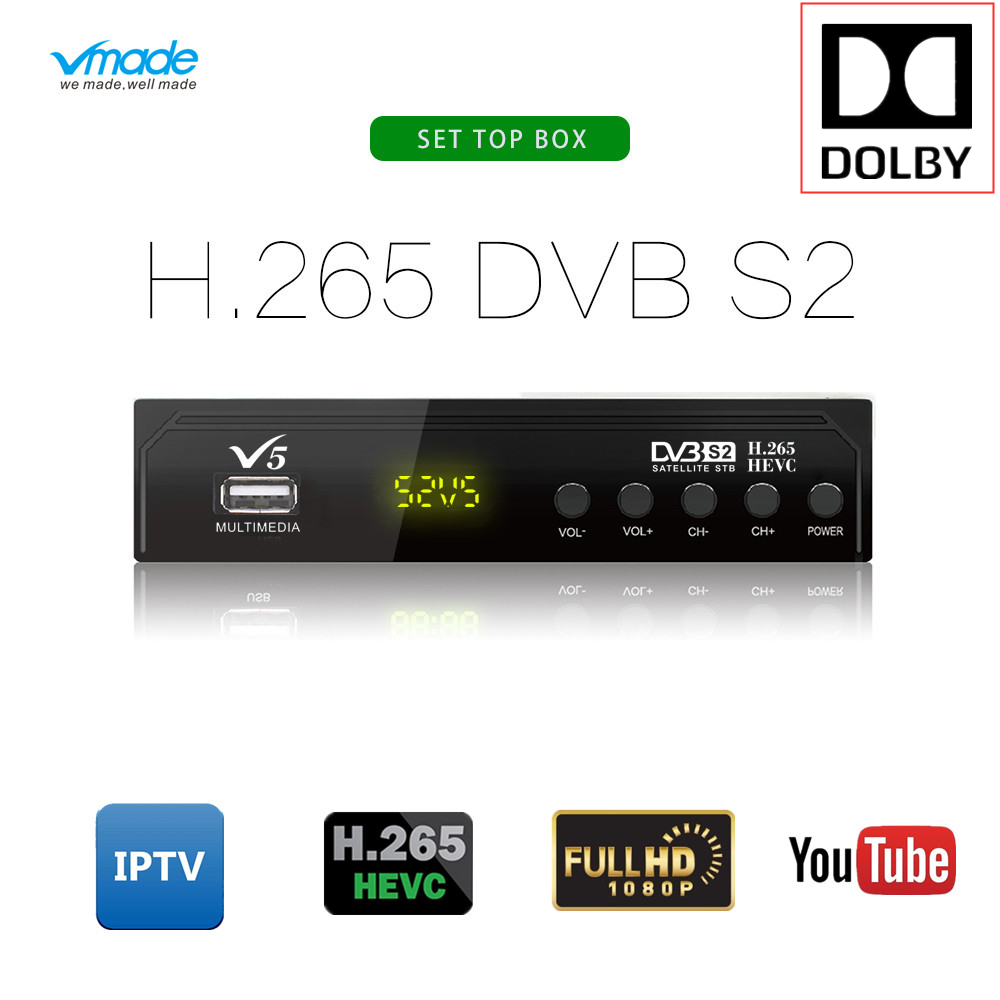 Hot sale Satellite TV Receiver VMADE V5 HD H 265 Receptor Support Europe Cline for Spain DVB-S2 Satellite Decoder IPTV AC Player