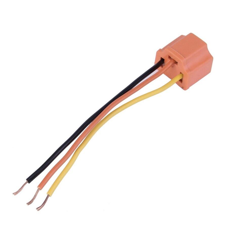 H4 9003 90 Degree Ceramic Headlight Bulb Connector Pigtail Socket Plug