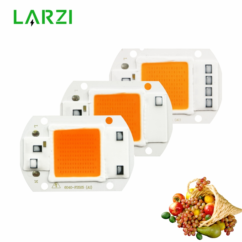LARZI Hydroponics 220V 20w 30w 50w cob led grow light chip full spectrum 380nm-840nm for Indoor Plant Seedling Grow and Flower