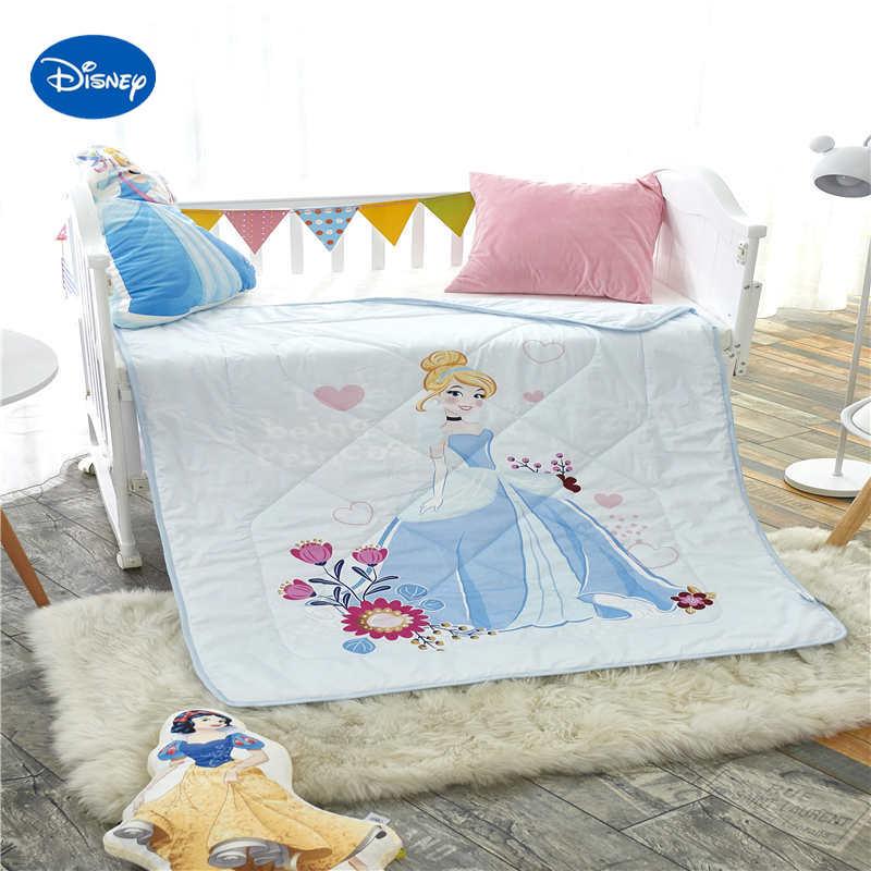 Disney princesse été courtepointes édredons 100% coton literie Wowen 120*150cm enfant bébé berceau filles lit bébé décor ensemble bleu clair